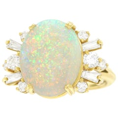 Opal and Diamond-Set Ring