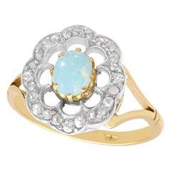 Opal and Diamond Yellow Gold Dress Ring, Antique, circa 1900