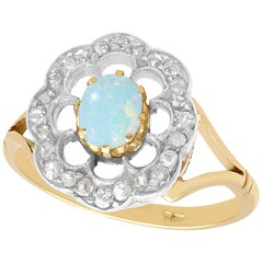 Opal and Diamond Yellow Gold Dress Ring, Antique, circa 1900