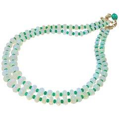 Goshwara Opal and Emerald 2-Strand Bead Necklace