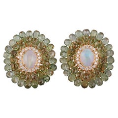 Opal and Green Sapphire Diamond Earring in 18 Karat Yellow Gold