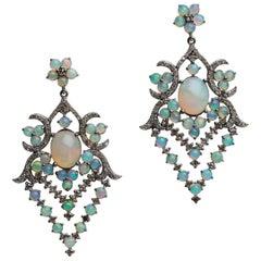 Opal and Pavé Diamond Dangle Chandelier Earrings