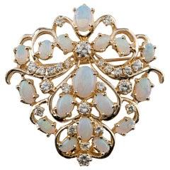 Opal and Round Brilliant Cut Diamond Brooch Pin Set in 14 Karat Yellow Gold
