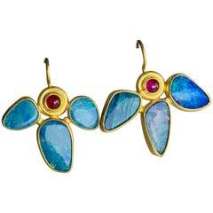 Opal and Ruby Earrings in 22 Karat Gold