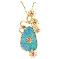 Opal and Ruby Floral Pendant Necklace