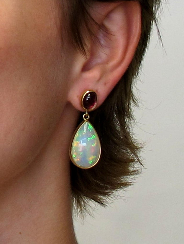 Opal and Tourmaline Cabochon Dangle Earrings 18 Karat Yellow Gold In Excellent Condition For Sale In Los Angeles, CA