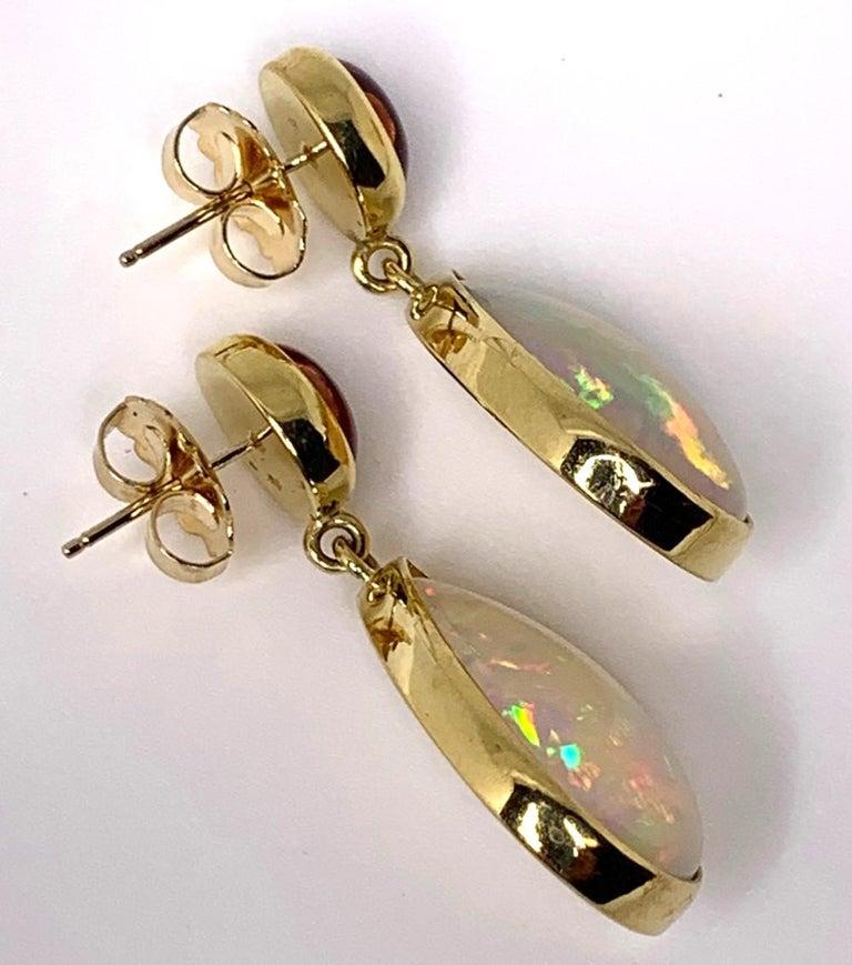 Women's Opal and Tourmaline Cabochon Dangle Earrings 18 Karat Yellow Gold For Sale