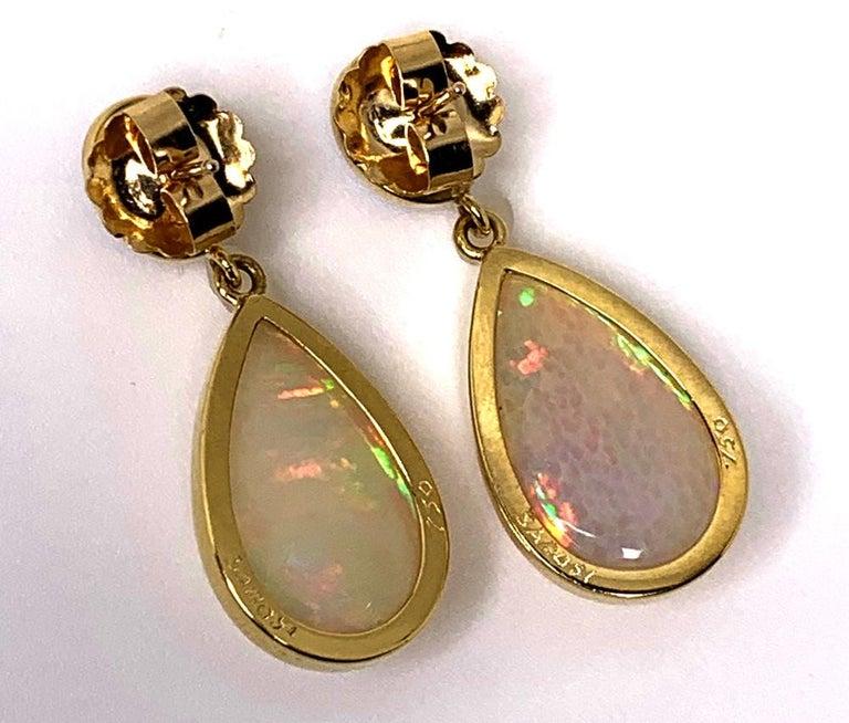 Opal and Tourmaline Cabochon Dangle Earrings 18 Karat Yellow Gold For Sale 1