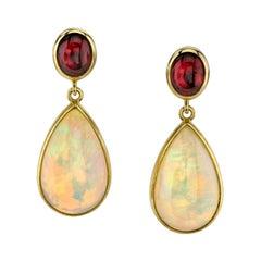 Opal and Tourmaline Cabochon Dangle Earrings 18 Karat Yellow Gold