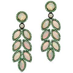 Opal and Tsavorite Leaf Earrings