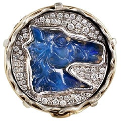 Opal and White Diamond Horse Jean Ring
