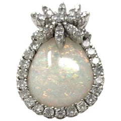 Opal and White Round Brilliant Diamond Ring in 18 Karat White Gold
