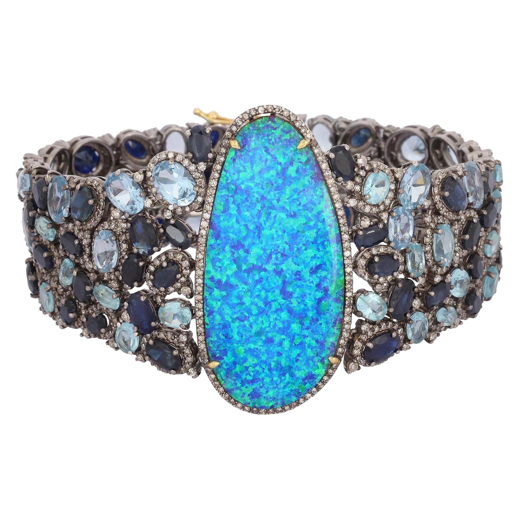 Opal Aquamarine Blue Sapphire Diamond Cuff Bracelet