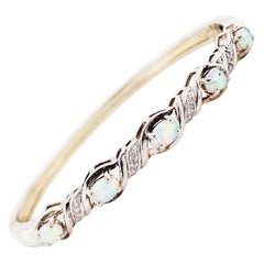 Opal Bangle Bracelet with Diamonds in Sterling Silver, Genuine Opal Bracelet