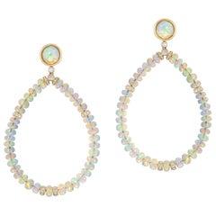 Opal Beads Long Earring