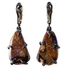 Opal Black Silver Earrings Dangle Large Gemstone LOTR Gothic style wedding harry
