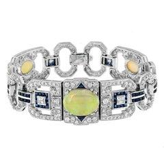 Opal Blue Sapphire and Diamond Bracelet