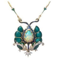 Opal, Blue Sapphire and Diamond Necklace Set in 18 Karat Gold Settings
