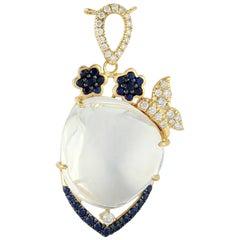 Opal Blue Sapphire Diamond 18 Karat Gold Pendant Necklace
