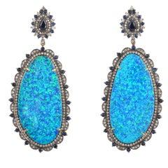 Opal Blue Sapphire Diamond Earrings