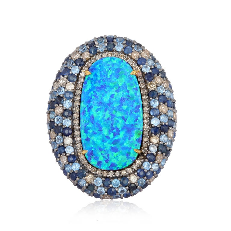 Artisan Opal Blue Sapphire Diamond Ring For Sale