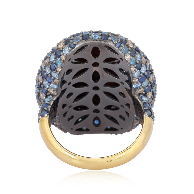 Opal Blue Sapphire Diamond Ring In New Condition For Sale In Hoffman Estate, IL