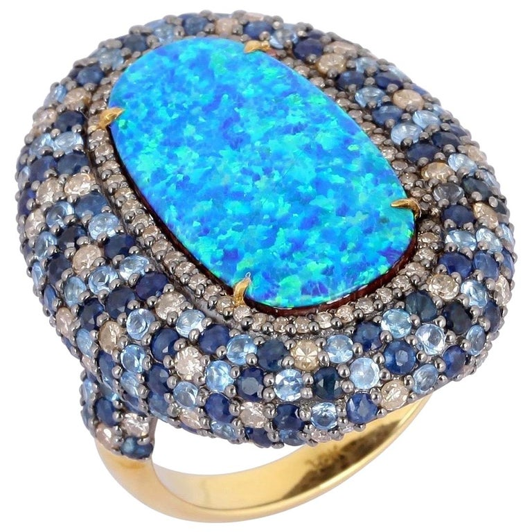 Opal Blue Sapphire Diamond Ring For Sale