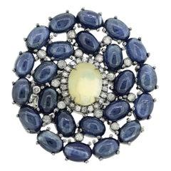 Opal Blue Sapphire Fluid Diamond Ring