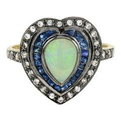 Opal Blue Sapphire White Topaz Cocktail Ring