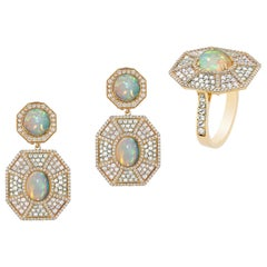 Opal Cab Octagon Ring and Earring with Diamonds