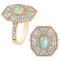 Goshwara Octagon Opal Cab And Diamond  Ring