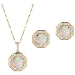 Opal Cab Pendant and Stud Earrings with Diamonds
