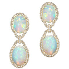 Opal Cabochon Earring with Diamonds