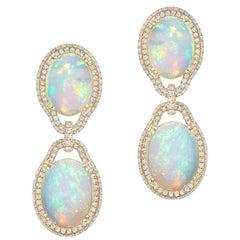Goshwara Opal Cabochon And Diamond Earrings