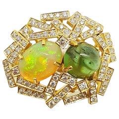 Opal, Cabochon Green Tourmaline with Brown Diamond Ring Set in 18 Karat Gold