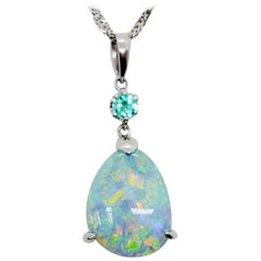 Opal Cabochon Pear Shape and Green Tourmaline Round Pendant Necklace in Platinum