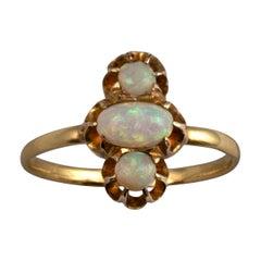 Opal Cabochon Ring 18 Karat Yellow Gold Vintage Opal Jewelry