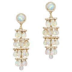 Opal Cabochon with Small Opal Drops Earrings with Diamonds