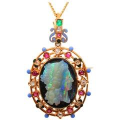 Opal Cameo Gem-Set Brooch Pendant, Wilhelm Schmidt, circa 1880s