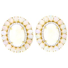Opal Center Stud Earrings with Diamond and Opal Halo