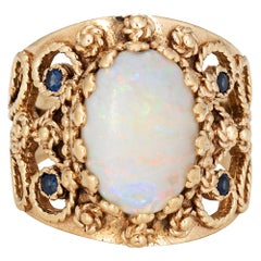 Opal Cigar Ring Vintage 14k Yellow Gold Wide Band Sapphire Fine Jewelry