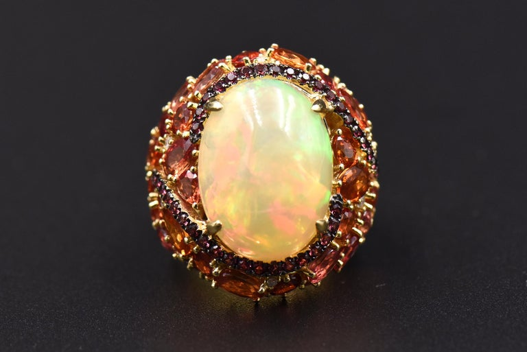 Opal, Citrine, Sapphire and Diamond Gold Cocktail Ring In Excellent Condition For Sale In Miami Beach, FL