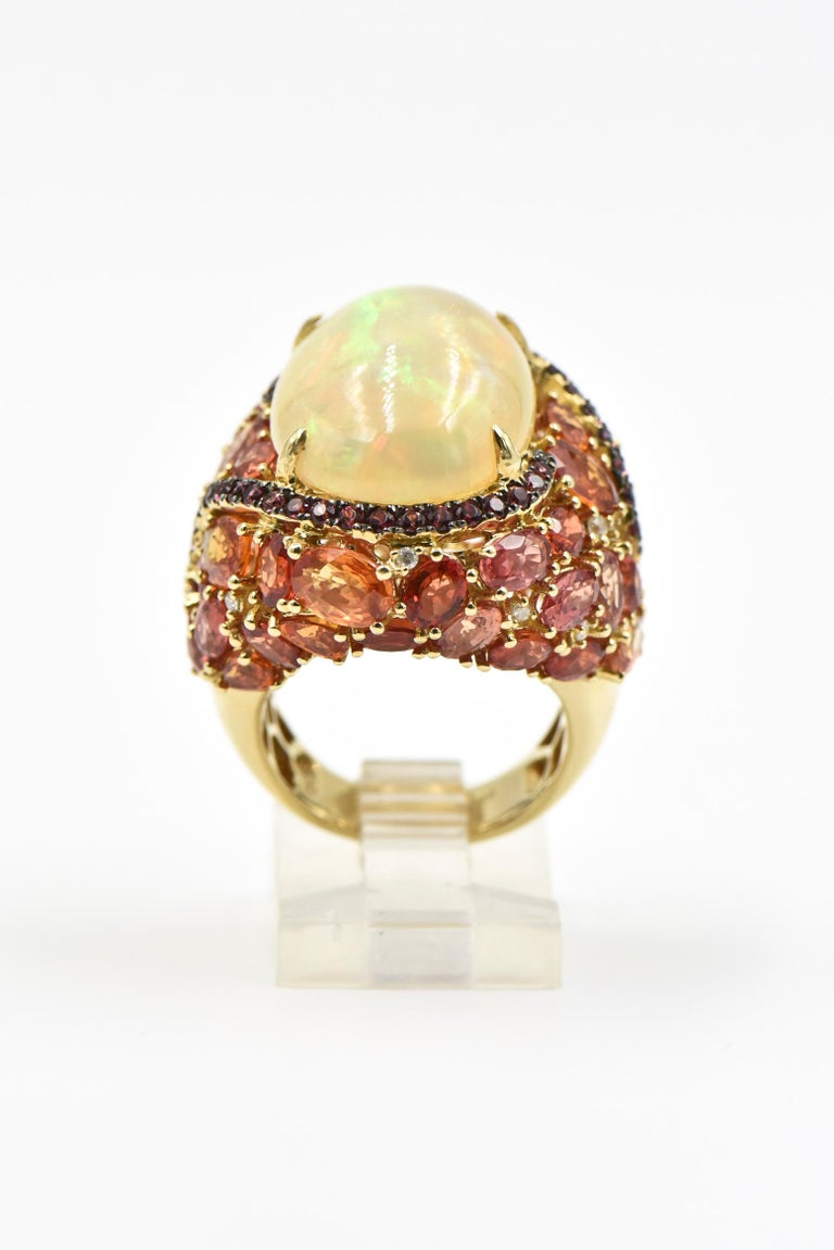 Women's or Men's Opal, Citrine, Sapphire and Diamond Gold Cocktail Ring For Sale