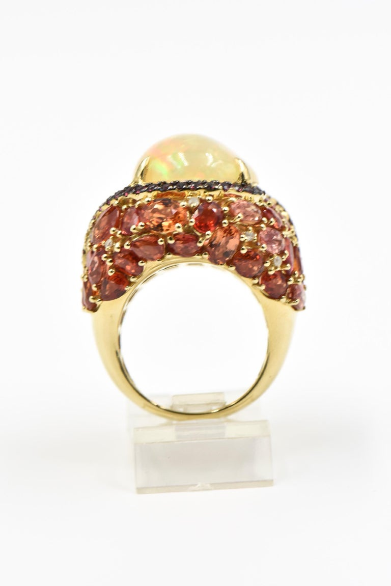 Opal, Citrine, Sapphire and Diamond Gold Cocktail Ring For Sale 2