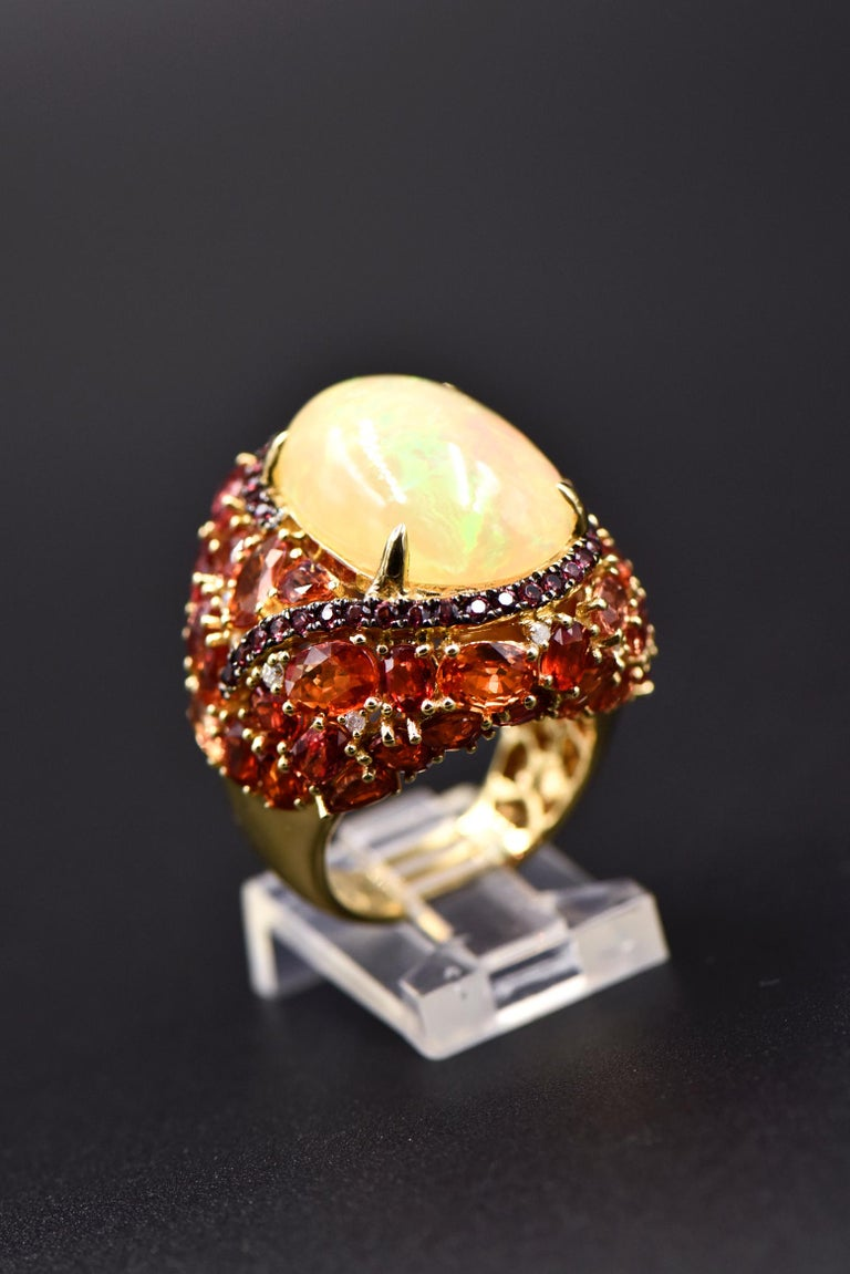 Opal, Citrine, Sapphire and Diamond Gold Cocktail Ring For Sale 4