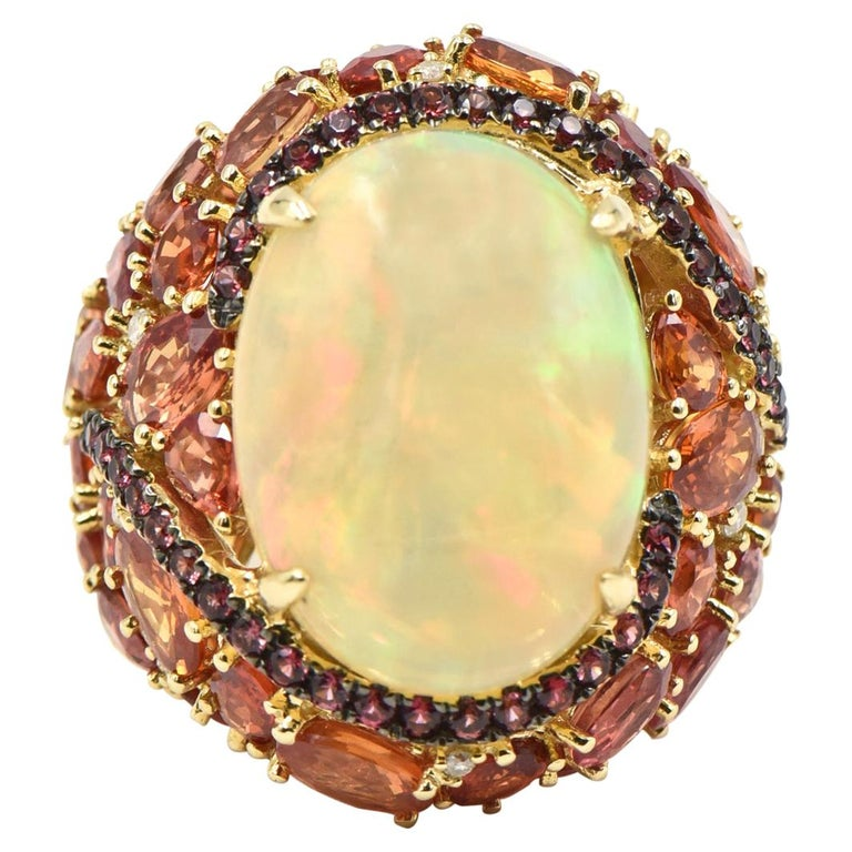 Opal, Citrine, Sapphire and Diamond Gold Cocktail Ring For Sale