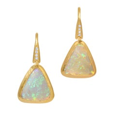 Opal Crystal Drop Earrings in 18k Matte Yellow Gold with Diamond Accent