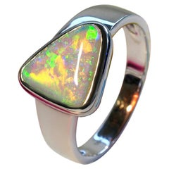 Opal Crystal Pipe Gold Ring Natural Gemstone Multicolor Hameleon Triangle Opal