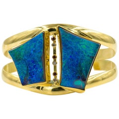 Opal Cuff Bracelet in 22k Gold and 18k Gold with Diamonds and Champagne Zircons
