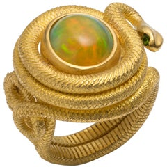 Opal, Demantoid Garnet and Handmade 22 Karat Gold Ring